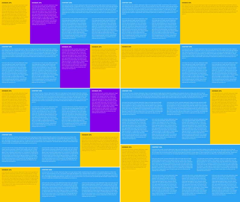 Full-width row with colored columns, 9 layouts