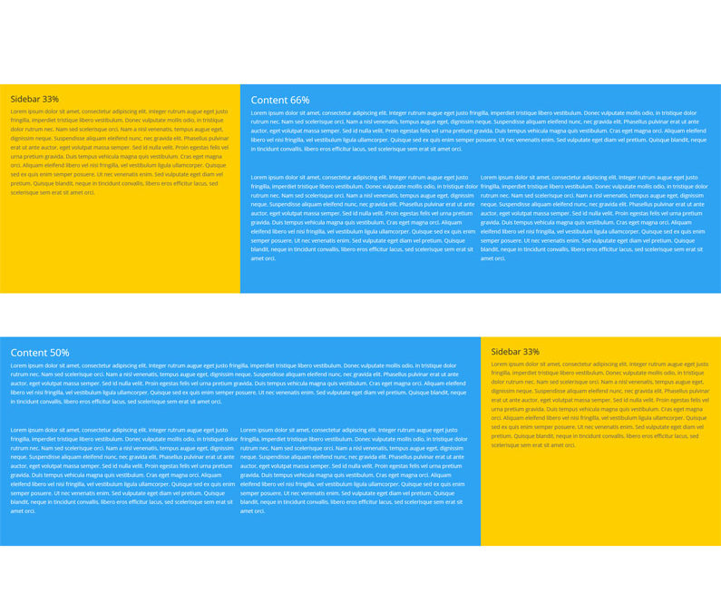Full-width row with colored columns layouts – free